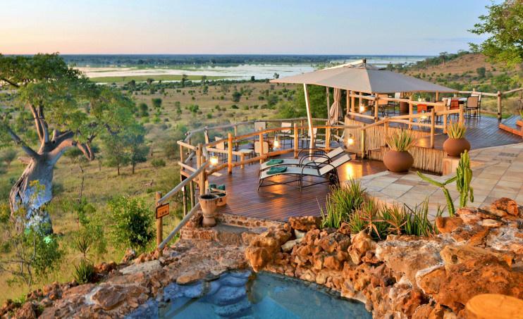 Blick vom Hauptgebäude der Ngoma Safari Lodge