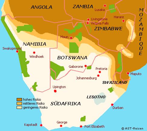 Malaria Gebiete im südlichen Afrika