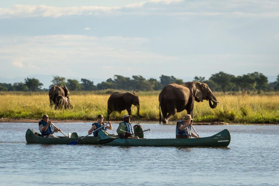 Kanufahrt auf dem Sambesi im Mana Pools Nationalpark