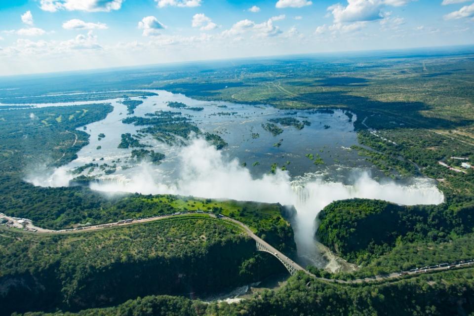 Die Victoria Wasserfälle aus der Vogelperspektive