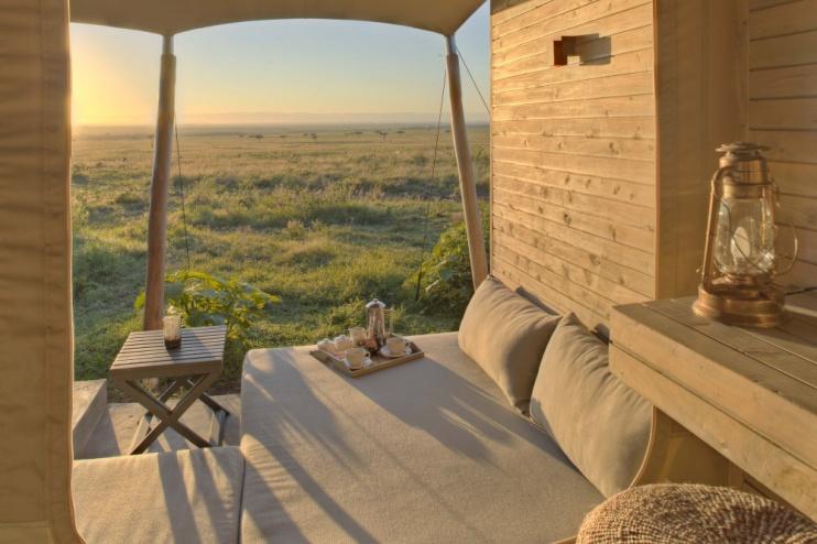Zeltaussicht im Kichwa Tembo Tented Camp