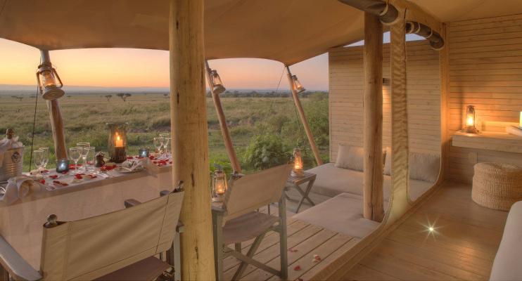 Zeltveranda im Kichwa Tembo Tented Camp