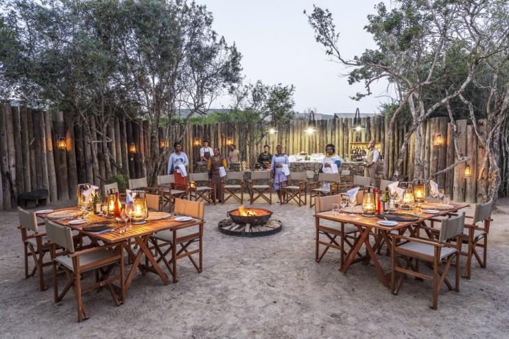 Abendessen in der Kariega Settlers Drift Lodge