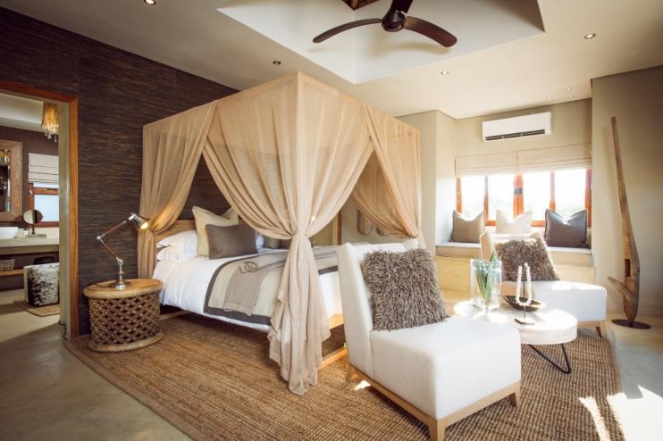 Schlafzimmer in der Luxury Villa der Sabi Sabi Bush Lodge