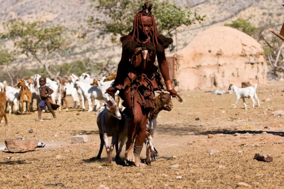 Ovahimbafrau mit Ziege